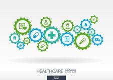 Sjukvårdmekanismbegrepp Abstrakt bakgrund med förbindelsekugghjul och symboler för läkarundersökningen, hälsa, omsorg, medicin vektor illustrationer