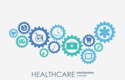 Sjukvårdmekanismbegrepp Abstrakt bakgrund med förbindelsekugghjul och symboler för läkarundersökningen, hälsa, omsorg, strategi Arkivbild