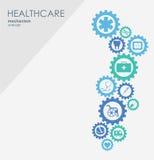 Sjukvårdmekanismbegrepp Abstrakt bakgrund med förbindelsekugghjul och symboler för läkarundersökningen, hälsa, strategi, omsorg Vektor Illustrationer