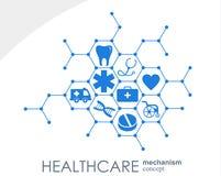 Sjukvårdmekanismbegrepp Abstrakt bakgrund med förbindelsekugghjul och symboler för läkarundersökningen, hälsa, strategi, omsorg Stock Illustrationer