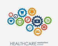 Sjukvårdmekanismbegrepp Abstrakt bakgrund med förbindelsekugghjul och symboler för läkarundersökningen, hälsa, strategi, omsorg Royaltyfri Illustrationer
