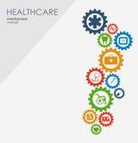 Sjukvårdmekanismbegrepp Abstrakt bakgrund med förbindelsekugghjul och symboler för läkarundersökningen, strategi, hälsa, omsorg Fotografering för Bildbyråer