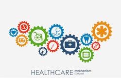 Sjukvårdmekanismbegrepp Abstrakt bakgrund med förbindelsekugghjul och symboler för läkarundersökningen, strategi, hälsa, omsorg Royaltyfri Bild