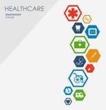 Sjukvårdmekanismbegrepp Abstrakt bakgrund med förbindelsekugghjul och symboler för läkarundersökningen, strategi, hälsa, omsorg Stock Illustrationer