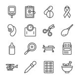 Sjukv?rd- och l?karbehandlingsymboler royaltyfri illustrationer