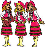sjunga för cowgirls Fotografering för Bildbyråer