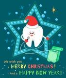 Sjunga tecknad filmtanden i jultomtenhatt med tandtråd vektor illustrationer