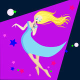 Sjungande flicka Illustration för tecknad film för lägenhet för popsångareVector illustration som isoleras på mörk bakgrund Arkivfoto