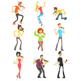 Sjungande karaoke för folk, vektorillustrationuppsättning Royaltyfria Bilder