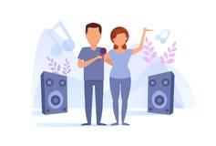 Sjungande karaokevektor för man och för kvinna cartoon Isolerad konst på vit bakgrund stock illustrationer