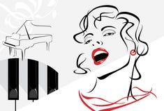 Sjungande kvinna på den retro bakgrunden med pianot Arkivbild