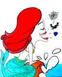 Sjungande liten sjöjungfru Arkivfoton