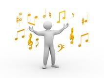 sjungande person 3d med musikaliska anmärkningar Royaltyfri Fotografi