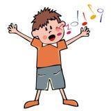 Sjungande pojke, vektorsymbol stock illustrationer