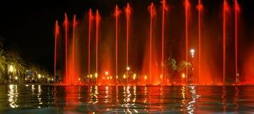Sjungande springbrunn i Salou Spanien Royaltyfri Fotografi