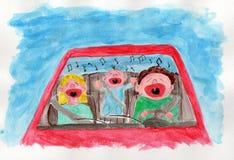 sjungande trafik för familj Royaltyfri Fotografi