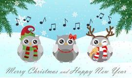 Sjungande uggla Glad jul och lyckligt nytt år Fotografering för Bildbyråer