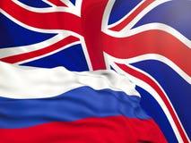 Sjunka från den ryska federationen mot bakgrunden av den engelska flaggan, konflikten av sanktioner och agression av Ryssland Arkivfoto
