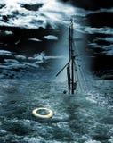 Sjunkande skepp royaltyfri illustrationer