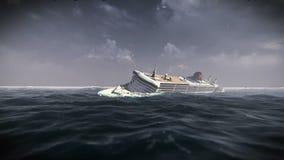 Sjunkande skepp i en stormvideomaterial stock illustrationer