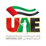 Sjunker logoen för den nationella dagen för UAE med den unga emiratihållen UAE, en på engelska inskrift & arabiskaFörenade Arabem royaltyfri illustrationer