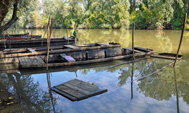 Sjunkna fartyg på floden Tisza, Tokaj Royaltyfri Foto
