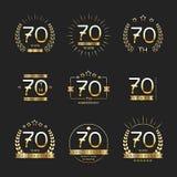 Sjuttio år årsdagberömlogotyp 70th årsdaglogosamling vektor illustrationer
