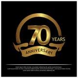 Sjuttio år guld- årsdag årsdagmalldesign för rengöringsduken, lek, idérik affisch, häfte, broschyr, reklamblad, tidskrift, I stock illustrationer
