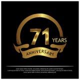 Sjuttio en år guld- årsdag årsdagmalldesign för rengöringsduken, lek, idérik affisch, häfte, broschyr, reklamblad, magazin royaltyfri illustrationer