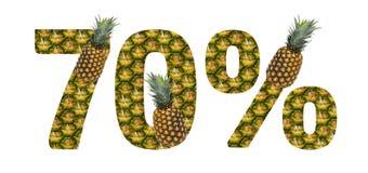 Sjuttio procent gjorde från ananas på en vit bakgrund Ananas f?r tropisk frukt bantar sommarmat royaltyfri illustrationer