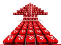 Sjuttio procent tillväxt Pilsymbol som göras från kuber royaltyfri illustrationer