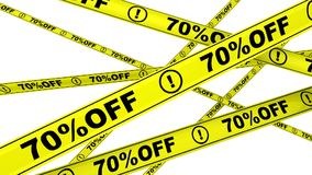 Sjuttio procentsats av Rabatt 70% Gula varningsband i rörelse stock video