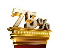 Sjuttiofem procentdiagram över vit bakgrund Royaltyfri Bild