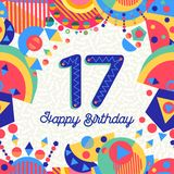 Sjutton nummer för kort för 17 år födelsedaghälsning Arkivbilder