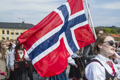 Sjuttonde av, Norges kan nationella dag Royaltyfria Bilder