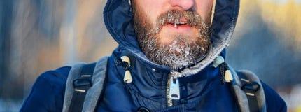 Skägg i rimfrostnärbildskytte Royaltyfri Fotografi