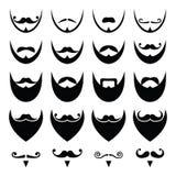 Skägg med mustasch- eller mustaschsymbolsuppsättningen Royaltyfri Bild