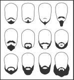 Skägg och mustasch tecknad filmillustrationmöss ställde in vektorn vektor illustrationer