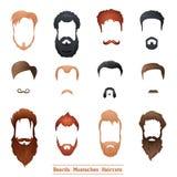Skägg och mustascher, frisyrer royaltyfri illustrationer