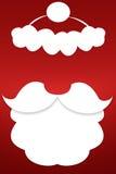 Skägget av Santa Claus på en röd bakgrund Arkivbilder