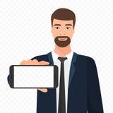 Skäggig affärsman som visar den tomma illustrationen för smartphoneskärmvektor Transperant bakgrund för telefonskärmalfabetisk royaltyfri illustrationer