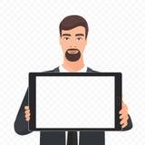 Skäggig affärsman som visar den tomma illustrationen för vektor för minnestavlaPCskärm Transperant bakgrund för minnestavlaalfabe vektor illustrationer