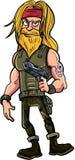 Skäggig bandit för tecknad film med vapnet Royaltyfri Fotografi