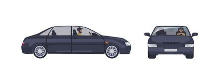 Skäggig caucasian man i locket som kör den svarta sedanbilen som isoleras på vit bakgrund Manlig chaufför och hans lyxiga bil stock illustrationer