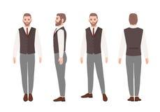 Skäggig man eller kontorsarbetare i elegant affärsdräkt med waistcoaten Vänligt manligt tecknad filmtecken som isoleras på royaltyfri illustrationer