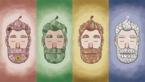 Skäggig man för blad och de fyra säsongerna stock illustrationer