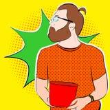 Skäggig man i exponeringsglas in vektor illustrationer