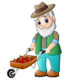 Skäggig trädgårdsmästare som skjuter en jordgubbevagn stock illustrationer