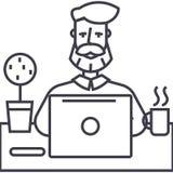 Skäggman som arbetar på tabellen med anteckningsbokvektorlinjen symbol, tecken, illustration på bakgrund, redigerbara slaglängder royaltyfri illustrationer