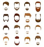 Skäggvektorportraite av den skäggiga mannen med manlig frisyr i frisersalong och den försåg med en hulling mustaschen på hipsters royaltyfri illustrationer